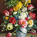 Flowers In A Blue And White Vase by R Klausner