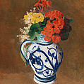 Flowers In A Blue Vase by Odilon Redon