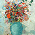 Flowers in a Turquoise Vase Print by Odilon Redon