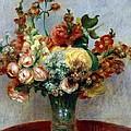 Flowers In A Vase by Pierre-Auguste Renoir