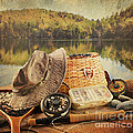 Fly Fishing Equipment  With Vintage Look by Sandra Cunningham