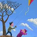 Flying Kite On Windy Day by Martin Davey