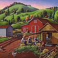 Folk Art Americana - Farmers Shucking Harvesting Corn Farm Landscape - Autumn Rural Country Harvest