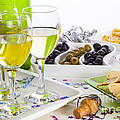 Food and Wine on a Buffet Table Print by Colin and Linda McKie