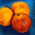 Food still life - three oranges on blue - digital painting