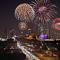 Fort Worth Skyline At Night Fireworks Color Evening Ft. Worth Texas by Jon Holiday