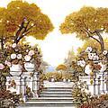 four seasons-autumn on lake Maggiore Print by Guido Borelli