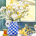 Freesias And Chequered Jug Print by Julia Rowntree