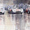 French GP 1954 MB W 196 Meserati 250 F Print by Yuriy  Shevchuk