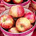 Fresh Apples In Buschel Baskets At Farmers Market by Teri Virbickis
