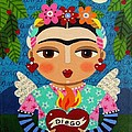 Frida Kahlo Angel And Flaming Heart by LuLu Mypinkturtle