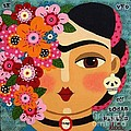 Frida Kahlo With Flowers And Skull by LuLu Mypinkturtle
