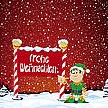 Frohe Weihnachten Sign Christmas Elf Winter Landscape by Frank Ramspott