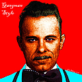 Gangman Style - John Dillinger 13225 - Red - Color Sketch Style - With Text by Wingsdomain Art and Photography