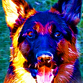 German Shepard - Electric by Wingsdomain Art and Photography