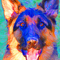 German Shepard - Painterly by Wingsdomain Art and Photography
