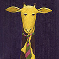 Giraffe Wearing Tie Print by Christy Beckwith