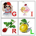 Girl Art Alphabet For Kids Room by Irina Sztukowski