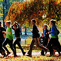 Girls Jogging On An Autumn Day by Susan Savad