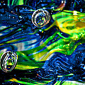Glass Macro - Seahawks Blue And Green -13e4 by David Patterson