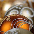 Gold Christmas ornaments Print by Elena Elisseeva