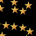 Gold Stars Abstract Triptych part 3 Print by Rose Santuci-Sofranko