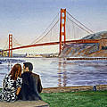 Golden Gate Bridge San Francisco - Two Love Birds by Irina Sztukowski
