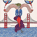 Golden Gate Lady And Wine by Michael Friend