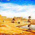 Golden Ruins Of Karnak by Mark E Tisdale