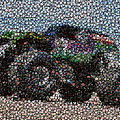 Grave Digger Bottle Cap Mosaic by Paul Van Scott