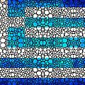 Greek Flag - Greece Stone Rock'd Art By Sharon Cummings by Sharon Cummings
