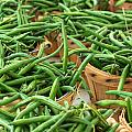 Green Beans In Baskets At Farmers Market by Teri Virbickis