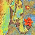green elephant Print by Jane Schnetlage