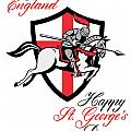 Happy St George Day A Day For England Retro Poster by Aloysius Patrimonio