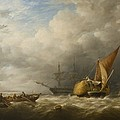 Hay Barges In The Thames Estuary by Alfred Herbert