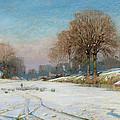 Herding Sheep in Wintertime Print by Frank Hind