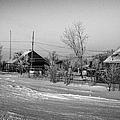 hoar frost covered street in small rural village of Forget Saskatchewan Canada by Joe Fox