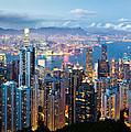Hong Kong at Dusk Print by Dave Bowman