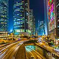 Hong Kong Highway At Night by Fototrav Print