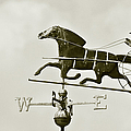 Horse And Buggy Weathervane In Sepia Print by Ben and Raisa Gertsberg