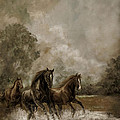 Horse Painting Escaping the Storm Print by Gina Femrite