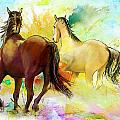 Horse Paintings 009 by Catf