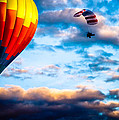 Hot Air Balloon And Powered Parachute Print by Bob Orsillo