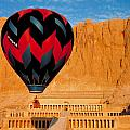Hot Air Balloon Over Thebes Temple by John G Ross