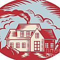House Homestead Cottage Woodcut by Aloysius Patrimonio