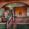 House - Porch - Metuchen Nj - That Yule Tide Spirit by Mike Savad