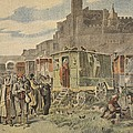 Hungarian Gypsies Outside Carcassonne by French School