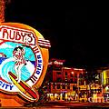 Huntington Beach Downtown Nightside 2 by Jim Carrell