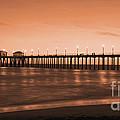 Huntington Beach Pier - Twilight Sepia Print by Jim Carrell