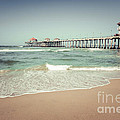 Huntington Beach Pier Vintage Toned Photo by Paul Velgos